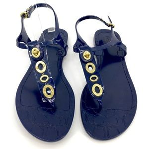 Coach Navy Blue & Gold Phila Jelly Flat Sandals